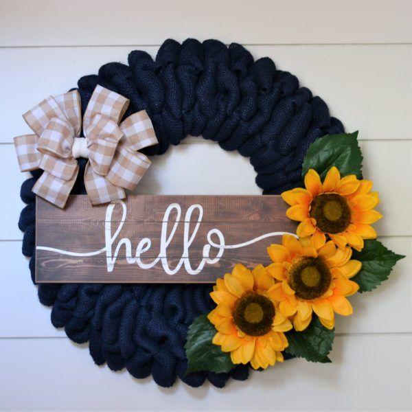Photo of Hello Navy Sunflower wreath
