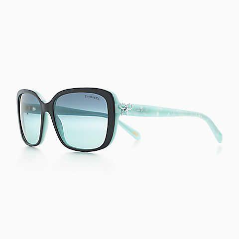 c2b58a876 Tiffany Twist square bow sunglasses in black and Tiffany Blue acetate.