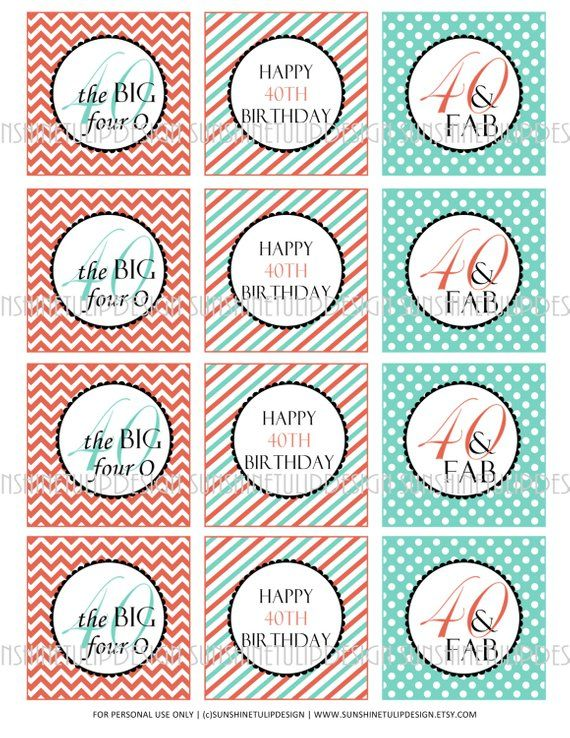 40th Birthday Printable DIY Party Tags And Cupcake Toppers By SUNSHINETULIPDESIGN