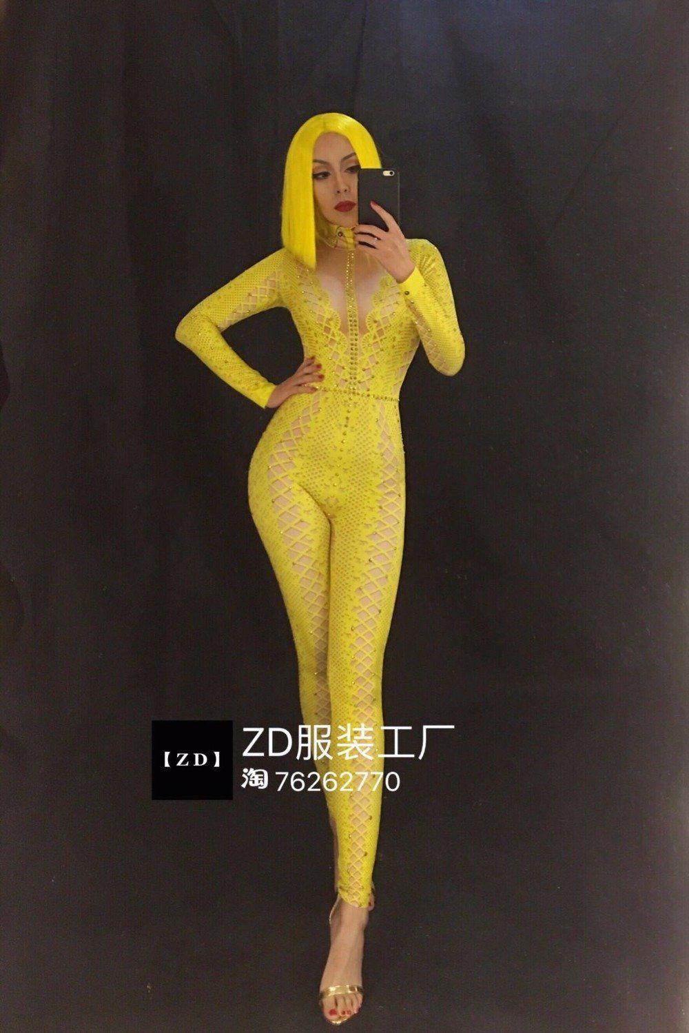 84.98 Yellow Bodysuit Crystals Jumpsuit Rhinestone Bodysuit Rhinestone  Bodysuit Party Sequins Bodysuit Costumes Stage Show Nightclub Dress  Performance ... 06bcf75c2956