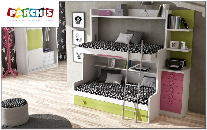 una gran litera de tres camas, un modelo abajo con cama nido tipo ...