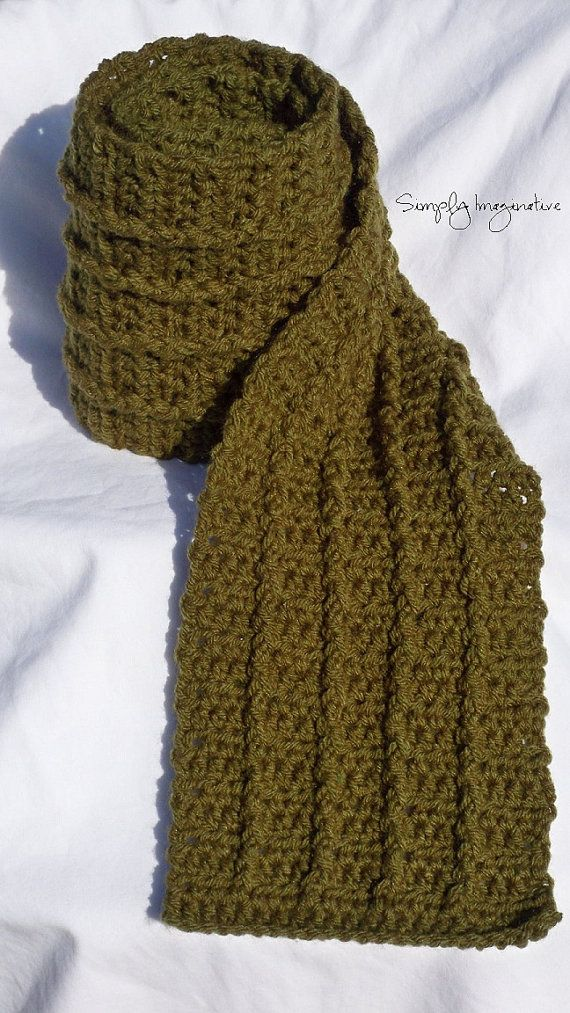 Crochet Mens Scarf With Cable 2300 Via Etsy Crochet