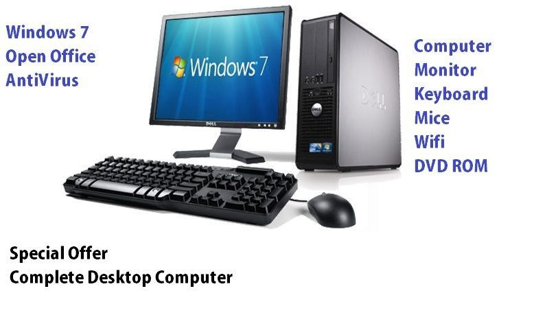 Dell Computer Pc Full Desktop System 17 Monitor Lcd Windows 7 Wi Fi 2gb Ram Desktop Computers Best Desktop Computers Dell Computers