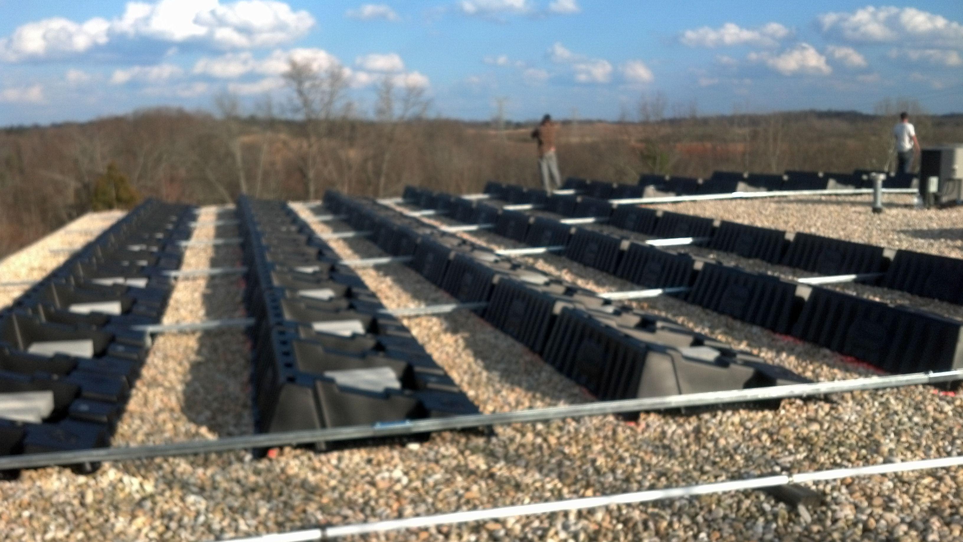 Solar Panel Ballast For Flat Roof Install Works Like A Paper Weight Solar Flat Roof Installation