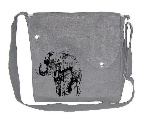 gray cotton canvas messenger bag   shoulder bag with screen print ... a332ab97d2202