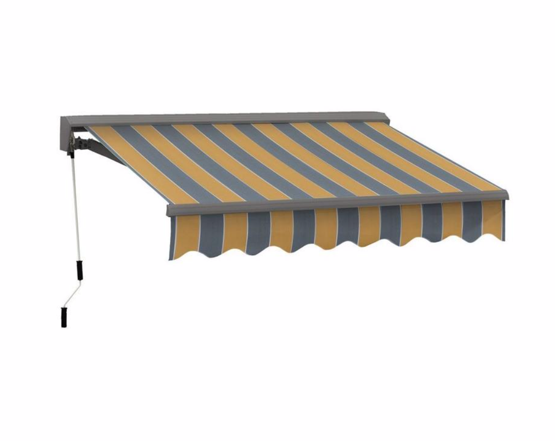 10 Ft W X 8 Ft D Fabric Retractable Standard Patio Awning Retractable Awning Deck Awnings Patio Awning