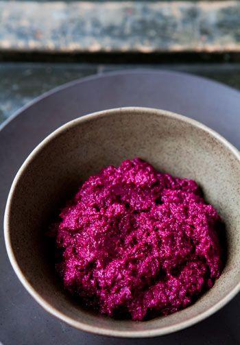 Beet Hummus - Love the colour!