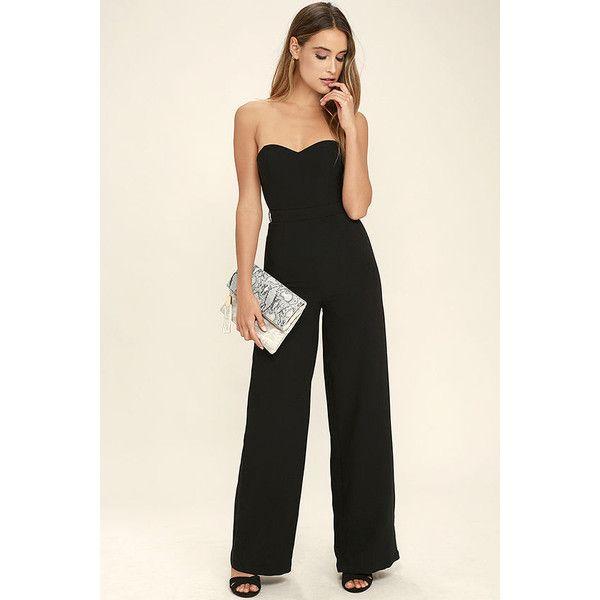 Pop Life Black Strapless Jumpsuit ($74) ❤ liked on Polyvore featuring jumpsuits, black, jump suit, strapless wide leg jumpsuit, wide leg jumpsuit and strapless jumpsuit