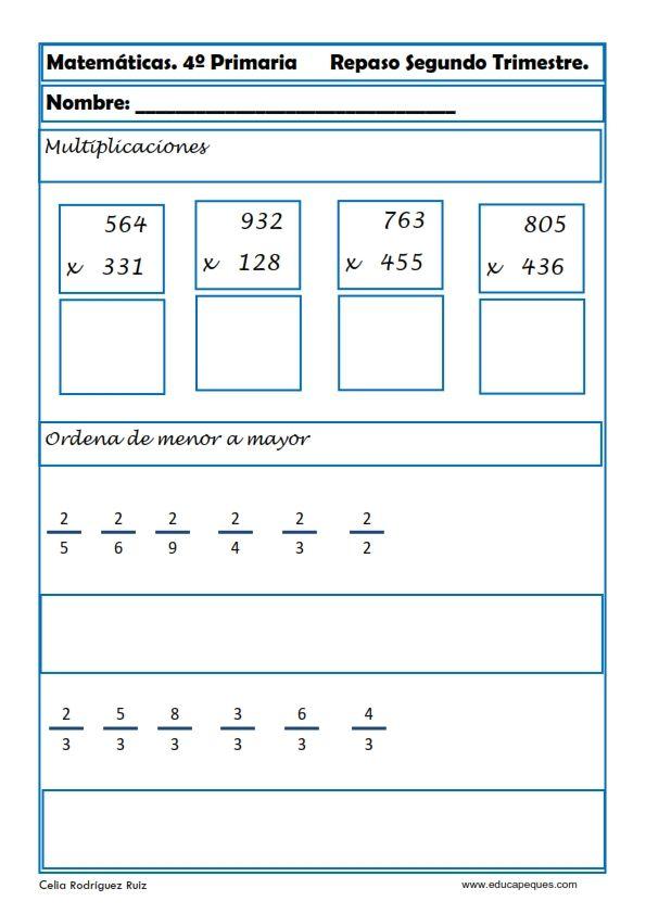 Ejercicios Matemáticas Primaria | material didactico ...