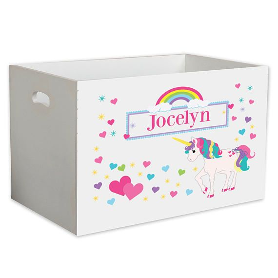 S Personalized Unicorn Toy Box Toys Storage Bin Crate For