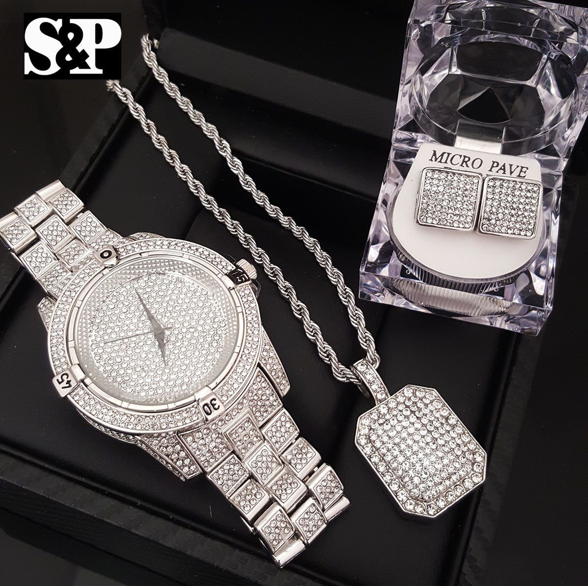 Iced out bling box lab diamond watch necklace u earrings combo set