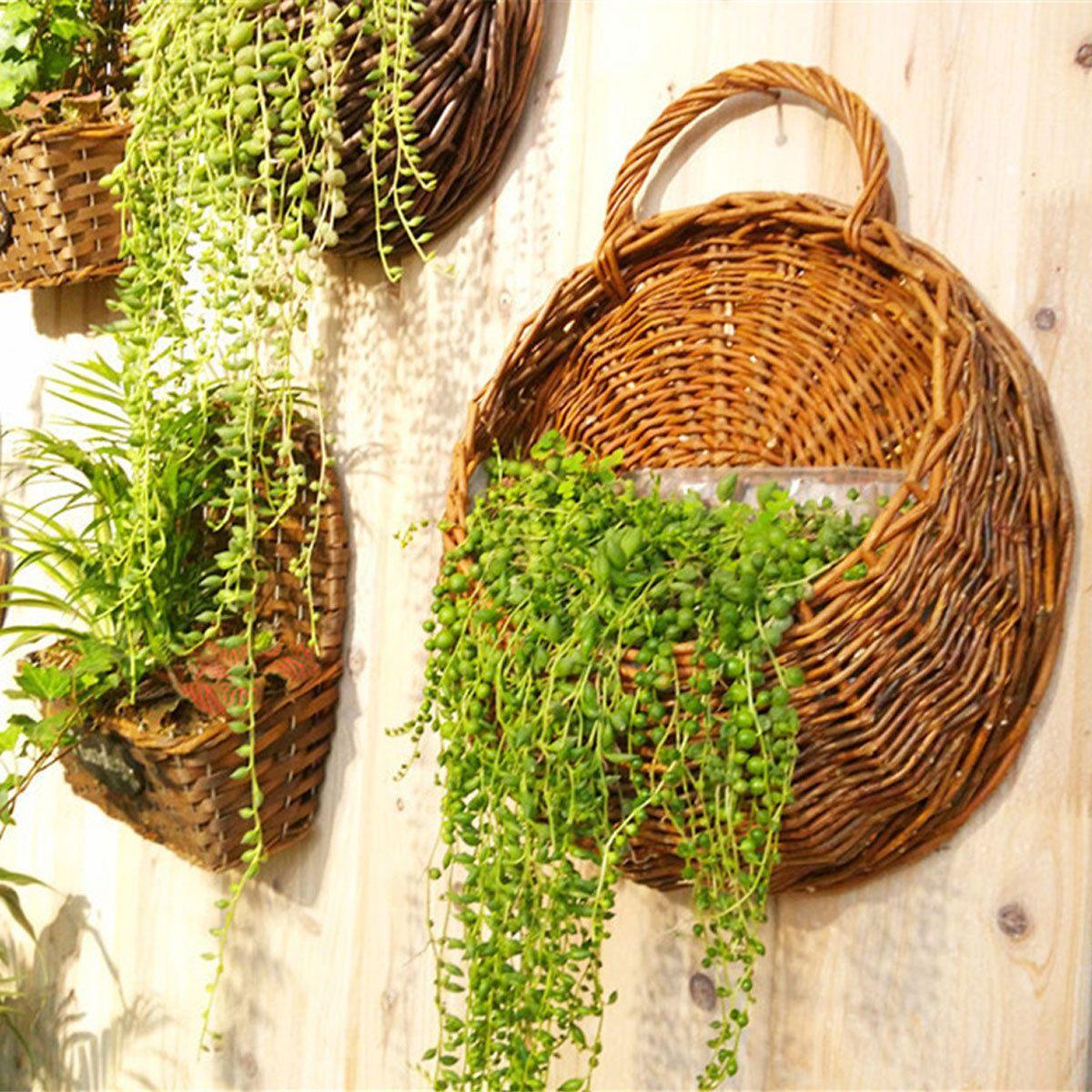 Handmade Woven Flower Planter Plant Wall Hanging Basket Garden Holder Home Decor Hanging Basket Garden Hanging Flower Pots Hanging Plants
