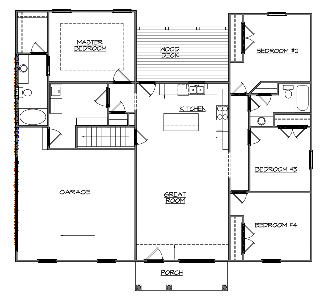 This Floor Plan Efficiently Makes Use Of The 1618 Square Feet With 4 Bedrooms And 2 Full Baths D Apartment Floor Plans Basement House Plans Basement Bar Plans
