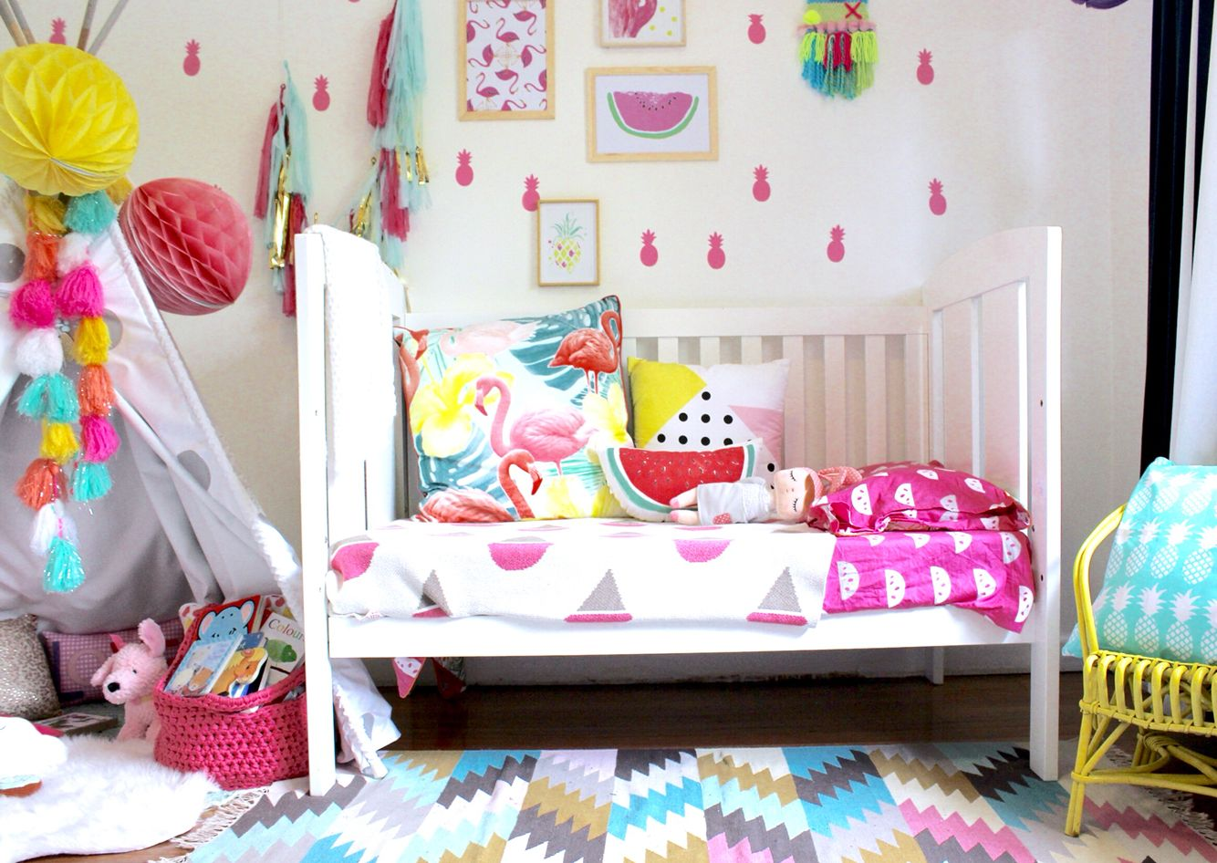 Kids Bedroom Inspo. Pink, Flamingo,colour, Watermelon, Bright Fund And  Playful. Target Rug And Cushion. Bright Colours
