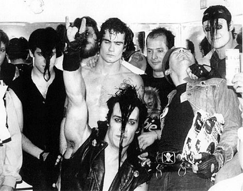 Henry Rollins and Robo with Danzig, Doyle and Jerry Only of The Misfits. Mad Marc Rude at front looking upwards.
