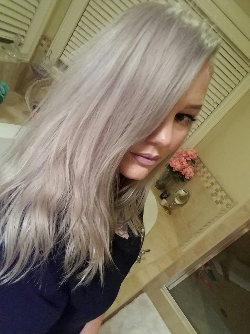 Silver Lavender Icy Perfection Hair Was Lightened With Redken