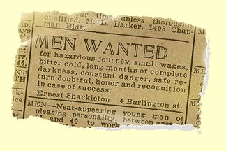 London Newspaper advertisement posted by Sir Ernest Shackleton