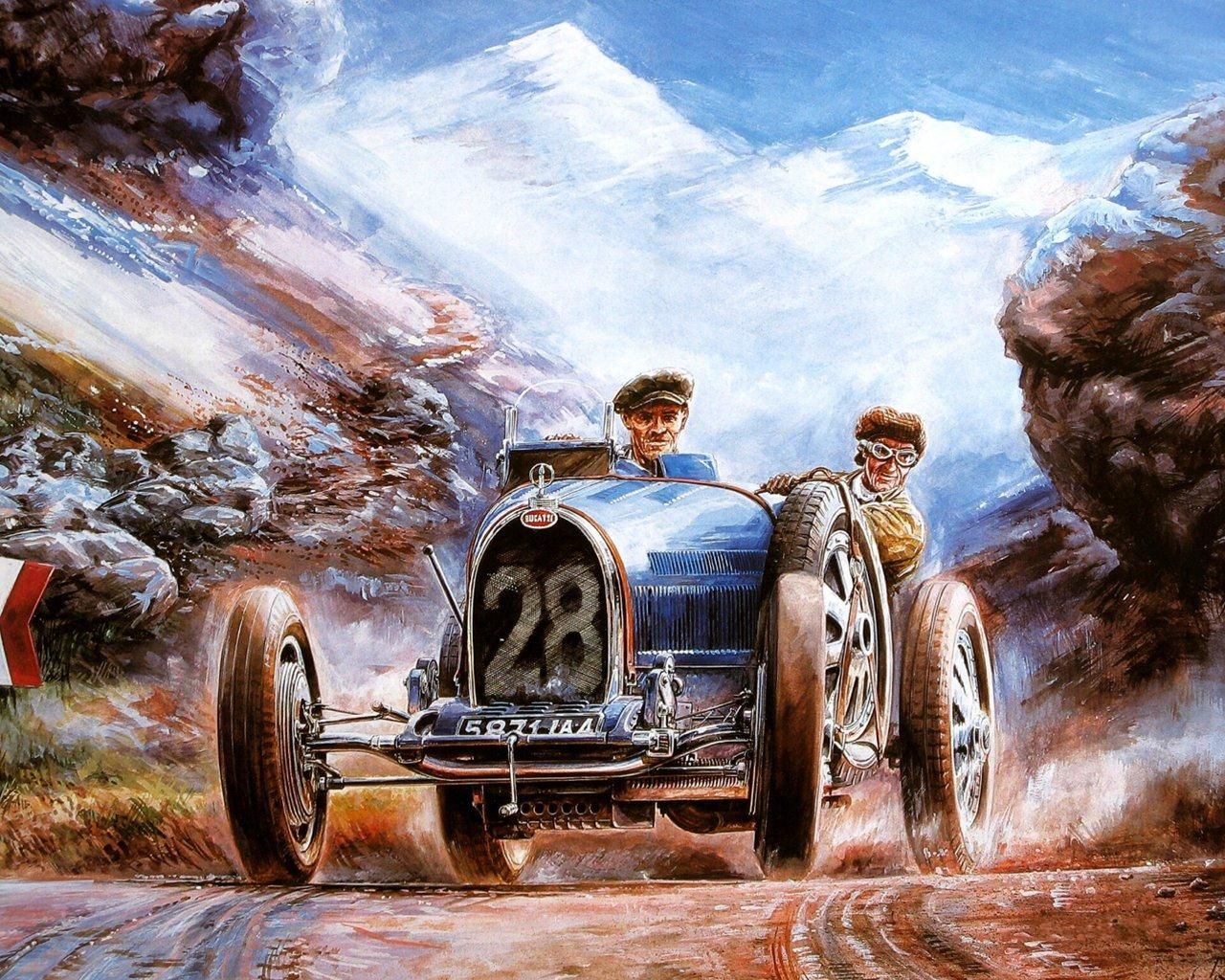 Art Czech Artists Vaclav Zapadlik Classic Old Car Oil Painting
