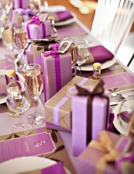 Radiant Orchid Bridal Shower Ideas | Purple table, Table settings ...