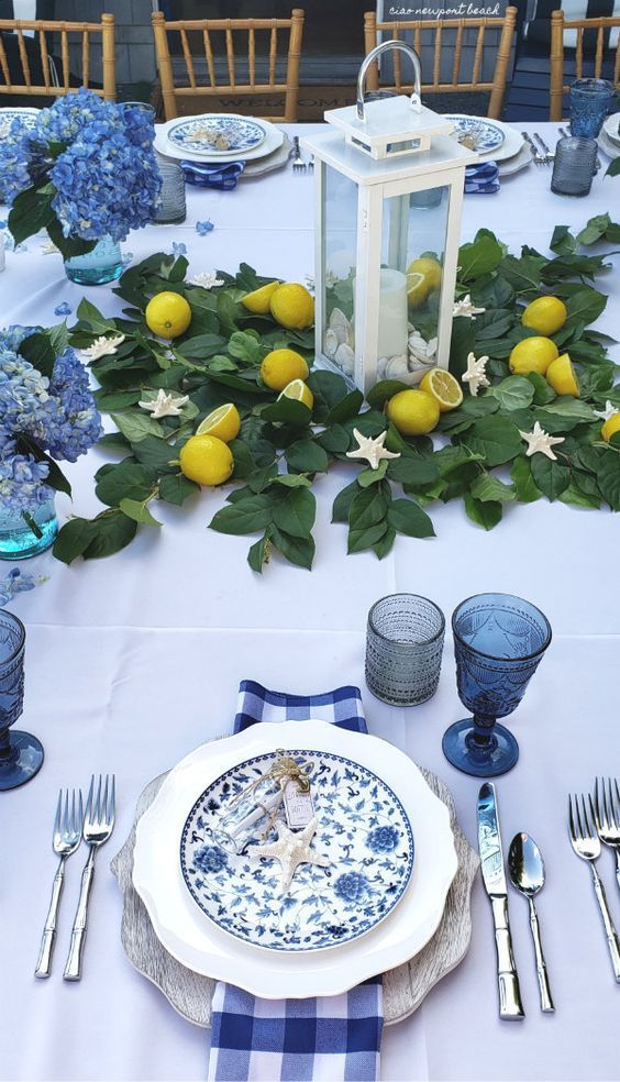 Photo of Blue table settings – Dining room table decor – Dining table de