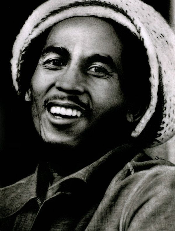 Bob Marley Beautiful Picture, You can see Bob Marley's beautiful eyes shining and his face lit up in a bright smile in this peaceful picture.