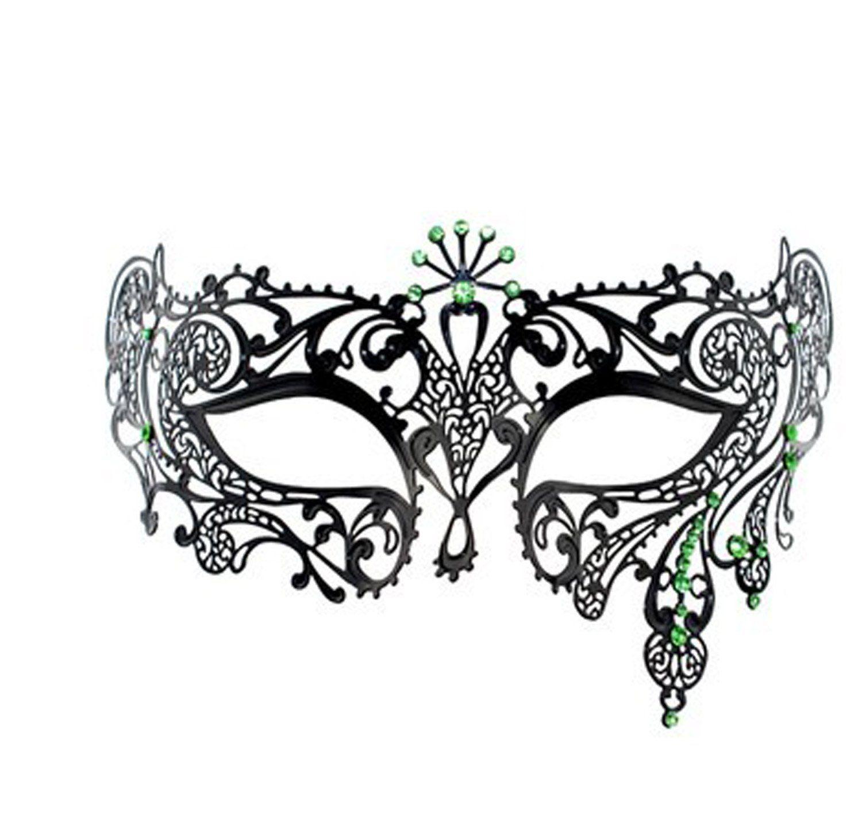 frau mardi gras maskerade maske laser cut metall venezianische maske schwarz mit strass m08. Black Bedroom Furniture Sets. Home Design Ideas