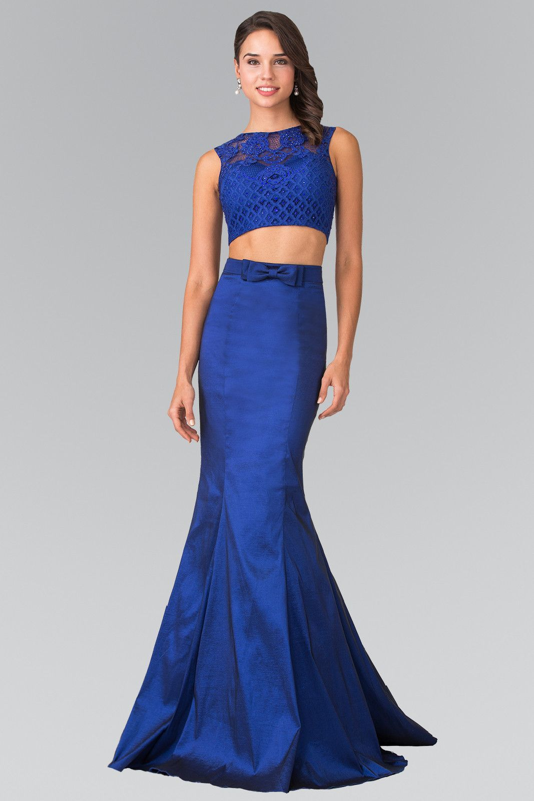 Long Two-Piece Mermaid Dress with Lace Top by Elizabeth K GL2354
