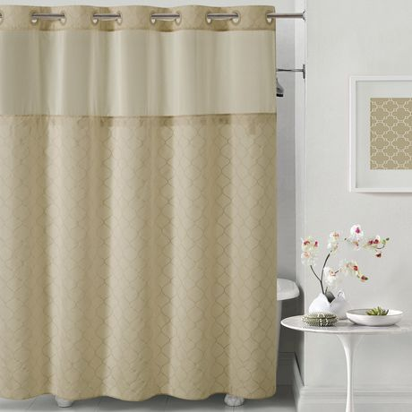 Hookless Mosaic Embroidery Shower Curtain With Peva Liner Taupe 1 Hookless Shower Curtain Curtains Shower Curtain