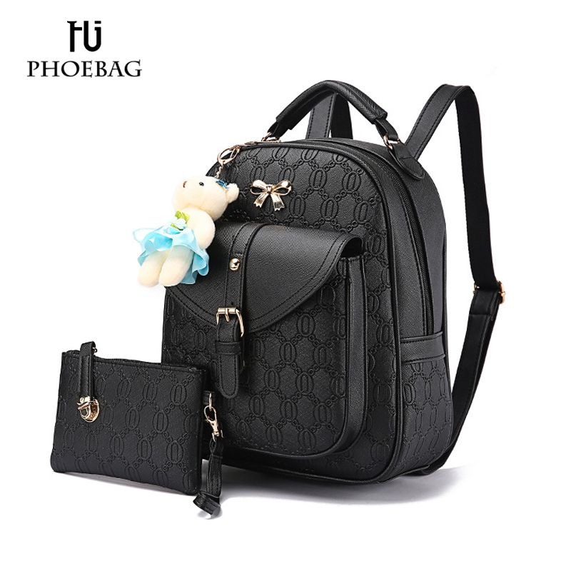 7fb3fa8964 HJPHOEBAG NEW Fashion Designed Brand Backpack Women Backpack pu Leather  School Bag Little bear pendBackpacks +