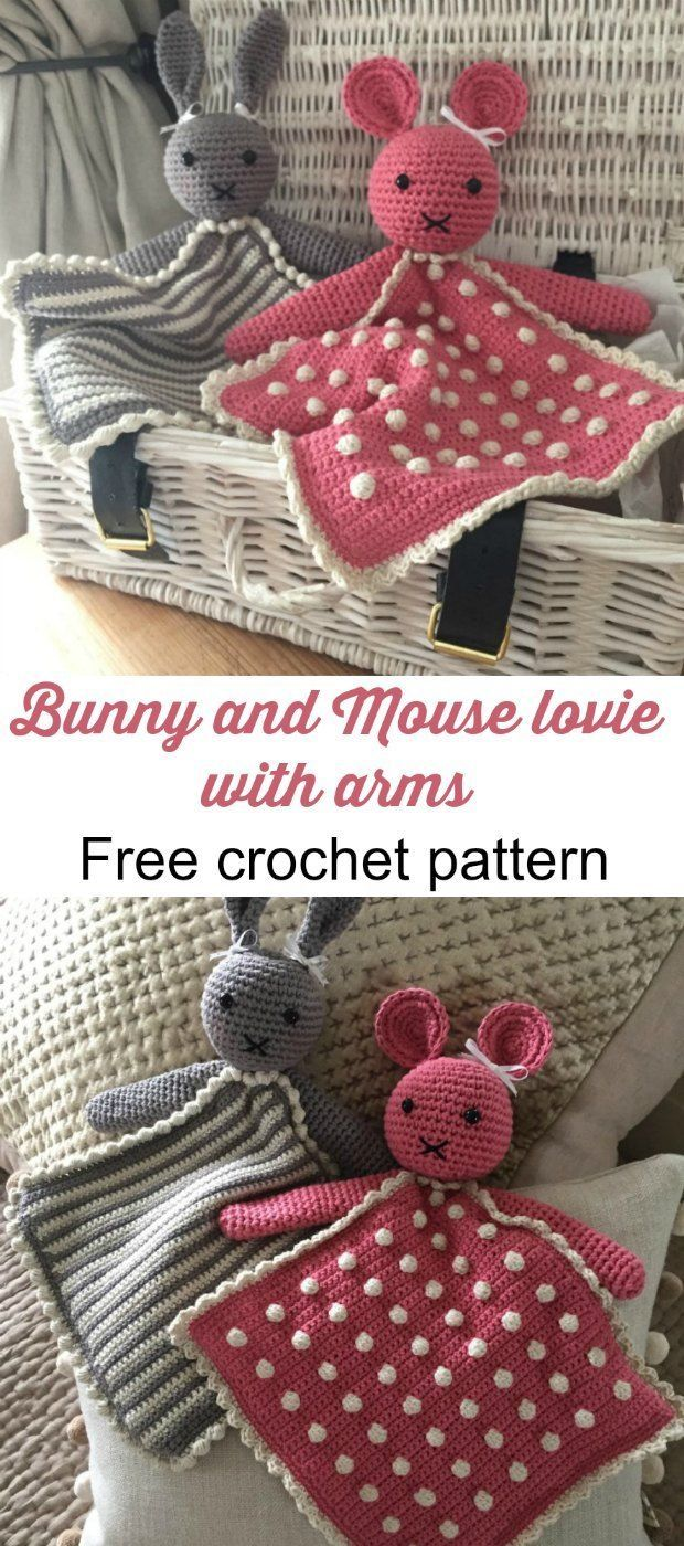 Lovies with arms! Free crochet pattern for a rabbit and a mouse ...