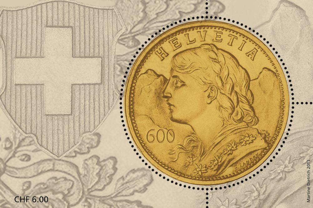 Swiss special stamp: Goldvreneli www.postshop.ch/philatelie