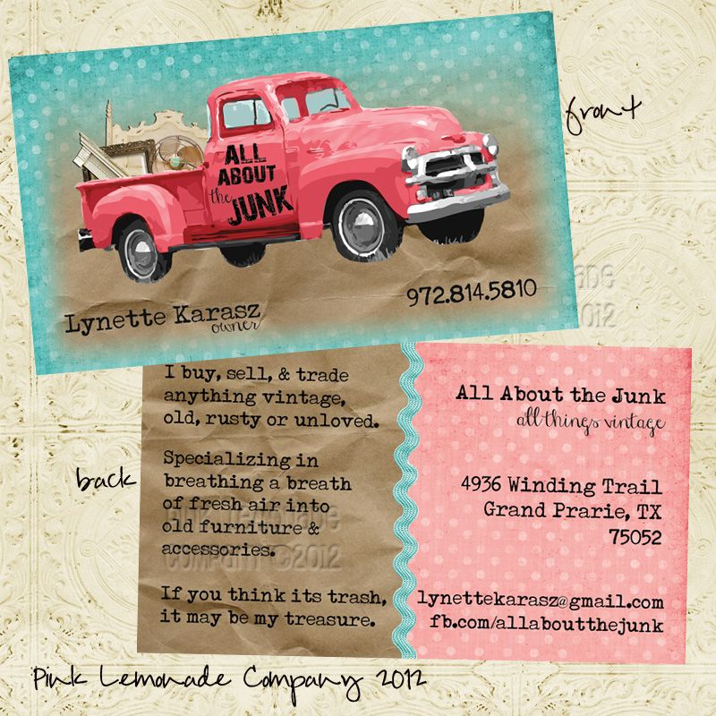 Custom Business Card Design for All About the Junk. Pink truck ...