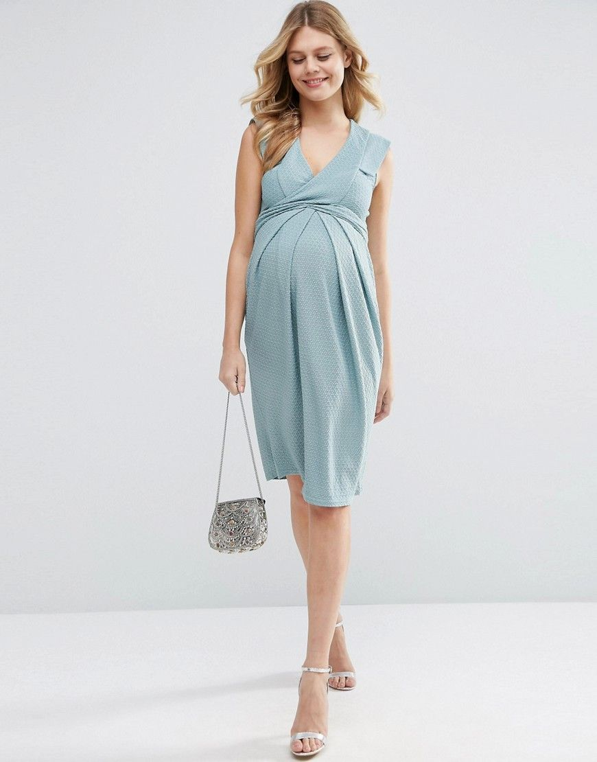 Image 4 of ASOS Maternity Wrap Front Skater Dress In Texture | Dress ...