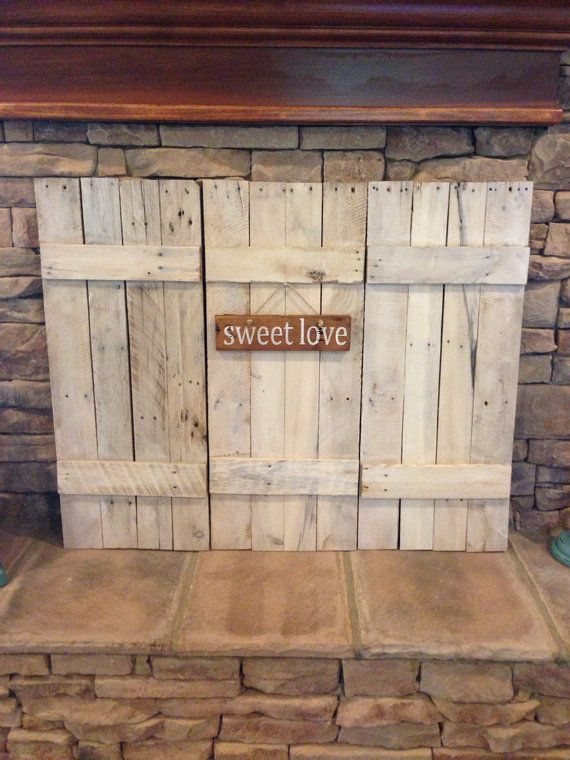 wooden fireplace screens. Set of Three Reclaimed Wood Shutters lightly whitewashed with sign  quote shutters Design options include motorized window treatments