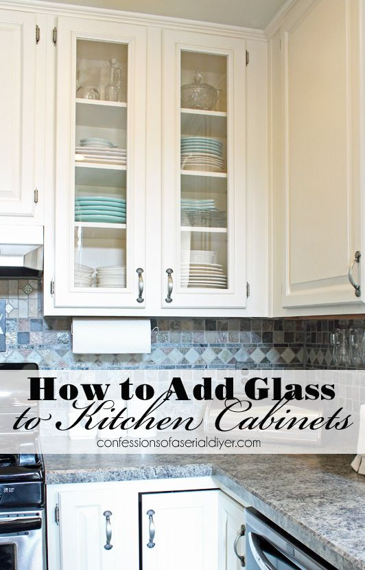 How To Add Glass To Cabinet Doors Kitchen Diy Makeover Glass