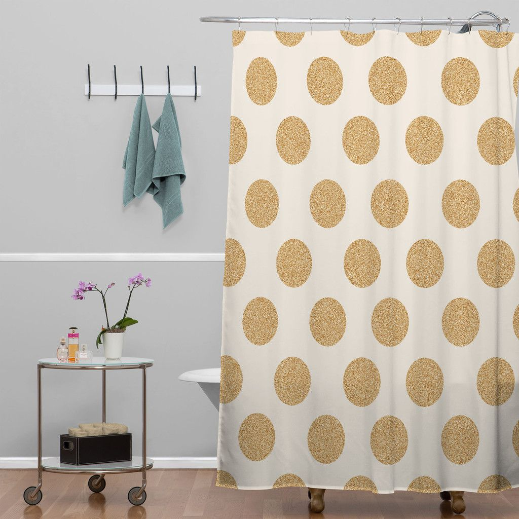 Allyson Johnson Gold Dots Shower Curtain