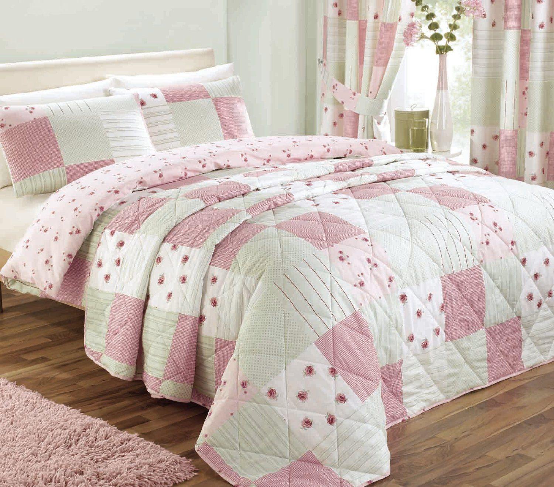 dreams 'n' drapes, patchwork tagesdecke für doppelbett, rosa ... - Patchwork Tagesdecke Bettuberwurf Schlafzimmer