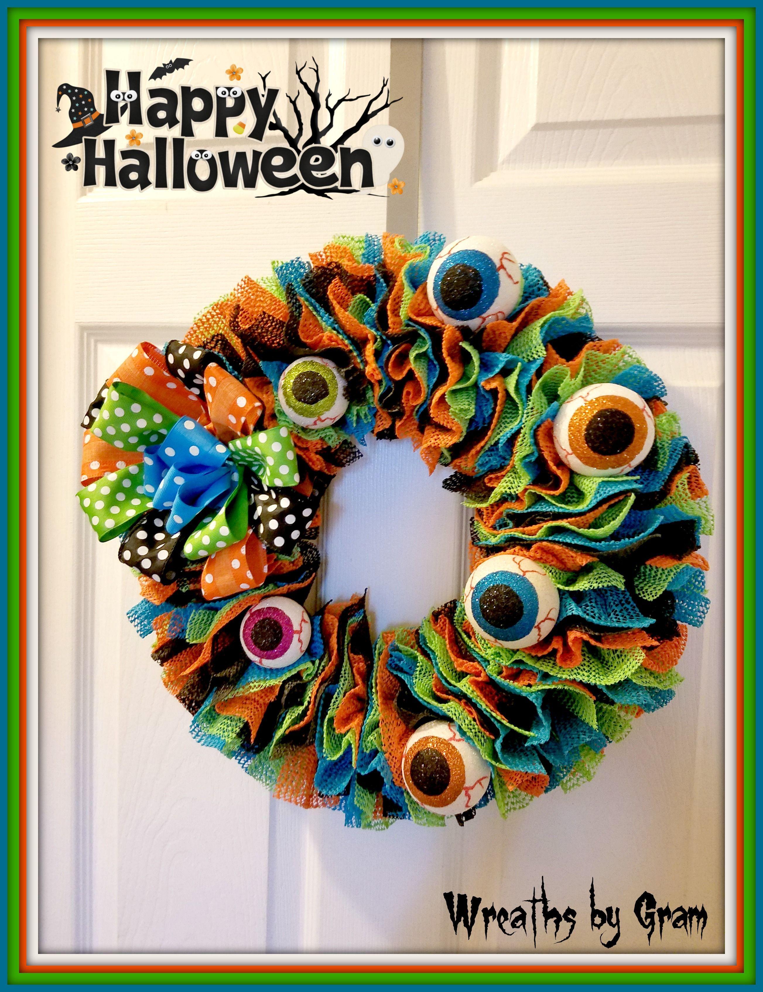 Halloween Wreath; Front Door Wreath; Front Porch Decor; Farmhouse - halloween front door decor