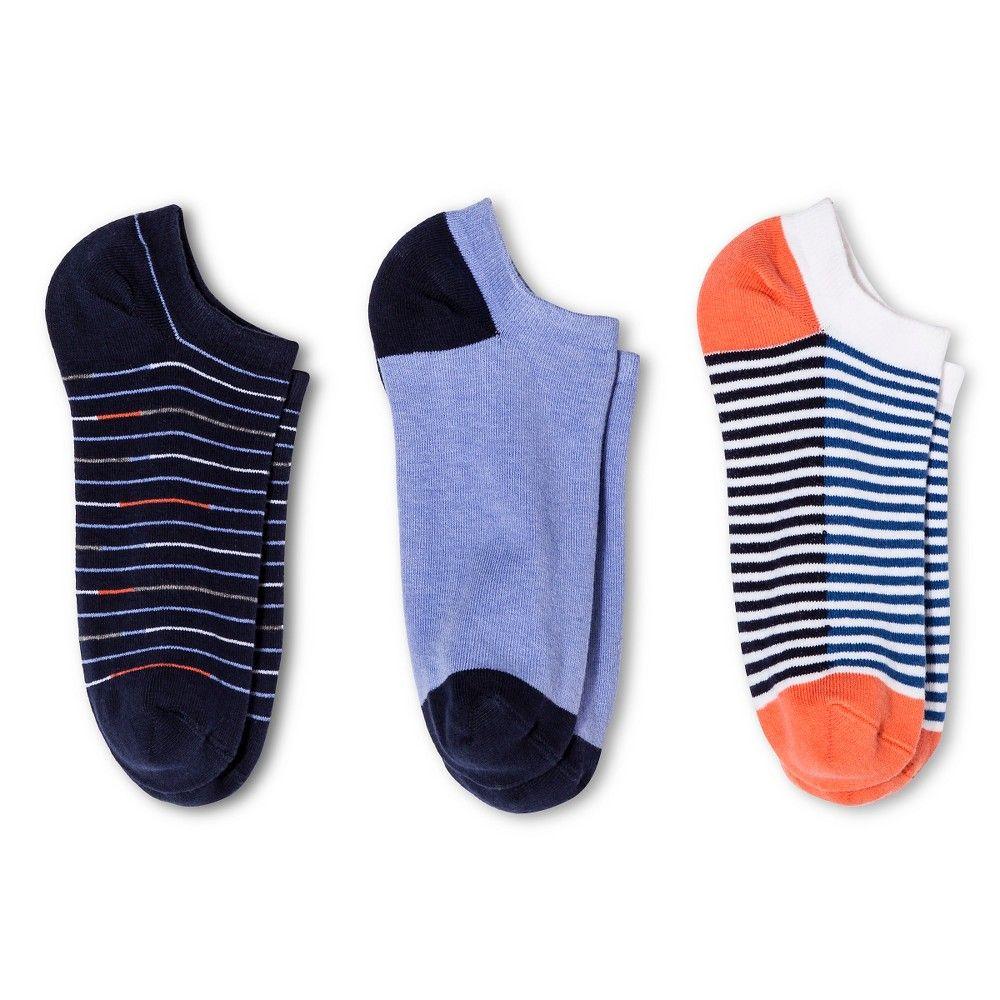 Women's Low-Cut Socks 3-Pack Double Stripe Deep Periwinkle/Xavier Navy One Size - Merona, Multi-Colored