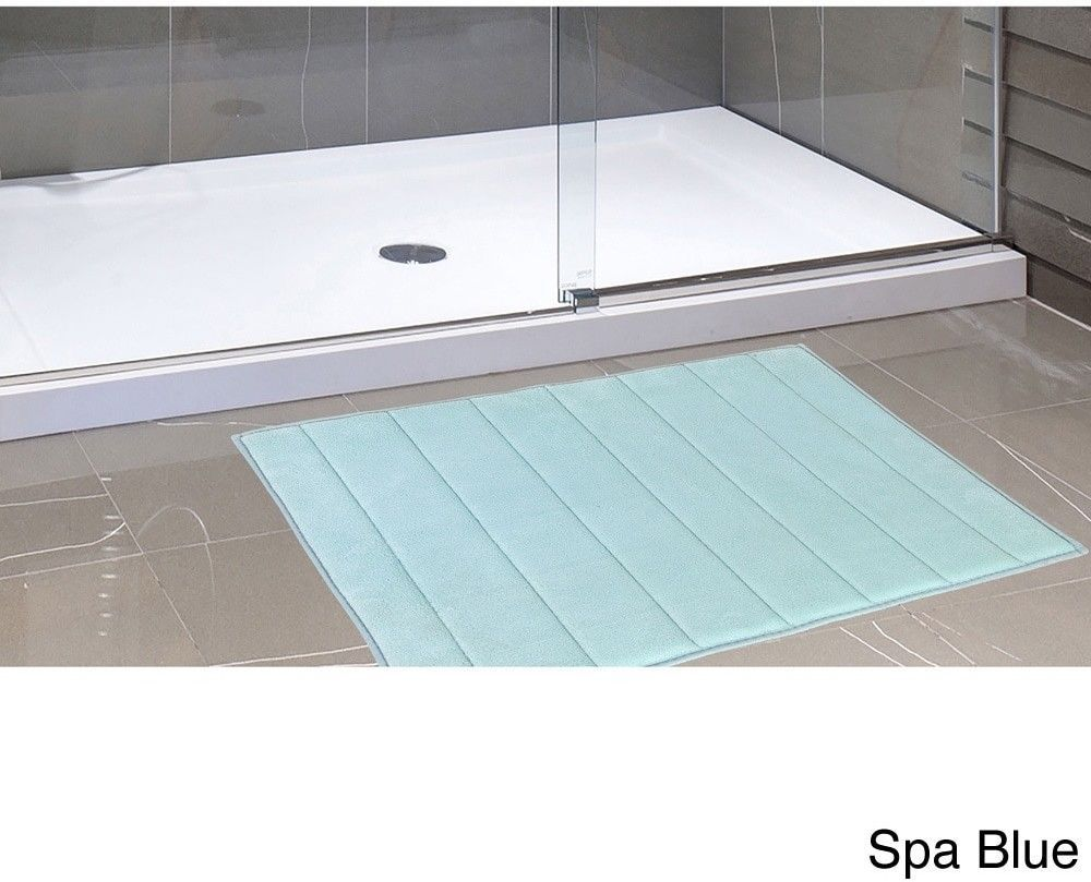 Slip Resistant Memory Foam Spa Blue Bath Mat with Non Skid Backing ...