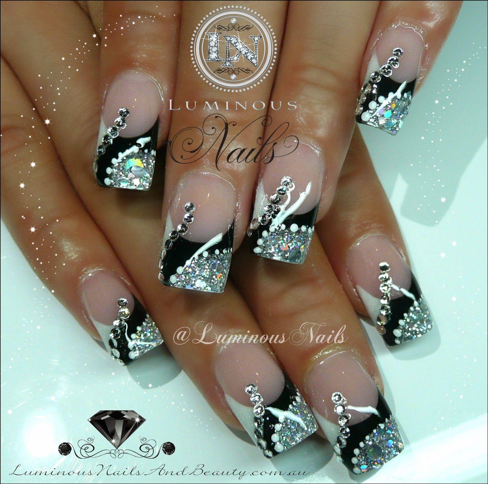 Black Silver White Nails With Bling Silver Nail Designs Luminous Nails Glitter Nail Art