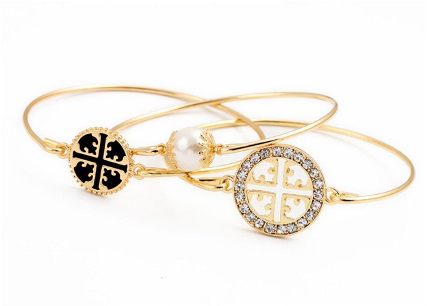 Poebus yellow gold layer pearl lots set swarovski bracelet