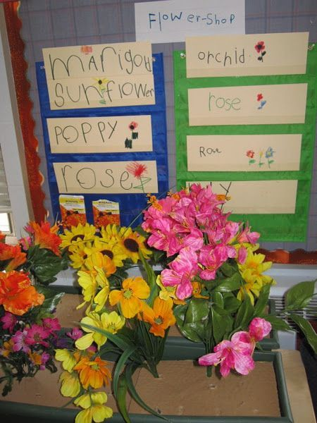 like that the kids helped with the preparation (signs!)  Flower shop... vases, plastic flowers, sign material, table cover