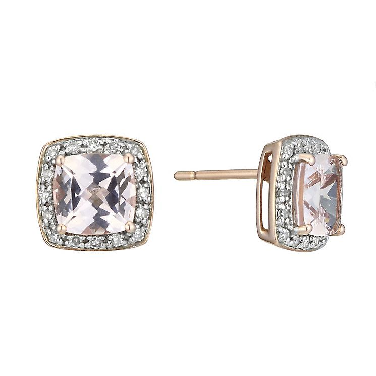 9ct Rose Gold Diamond Morganite Stud Earrings Product Number 2263572
