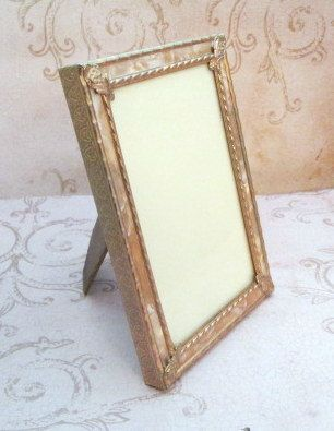 Vintage Photograph Framed Purse Mirror Black and White Circa 1950s