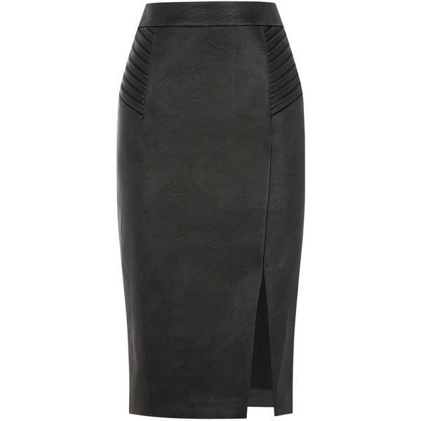 3cab9c160 Oasis Pintuck Wrap Pencil Skirt, Black ($49) ❤ liked on Polyvore featuring  skirts, chevron striped skirt, pintuck skirt, knee length pencil skirt, ...