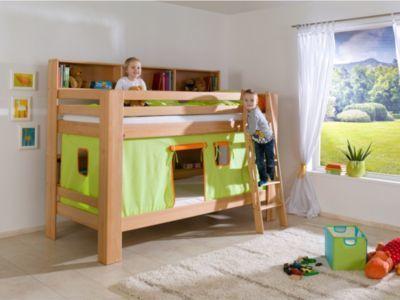 Etagenbett Jan Relita : Relita etagenbett jan mit vorhang grün orange buche massiv natur