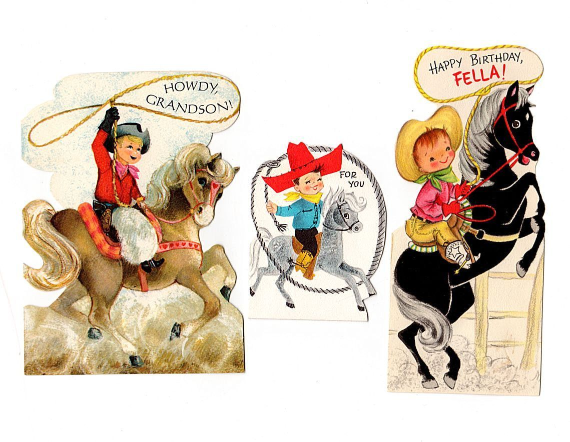 Lot of 3 adorable vintage kids birthday cards date to circa 1950s boy birthday cards kristyandbryce Choice Image