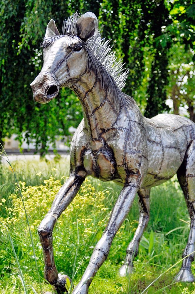 Giant Kenyan Recycled Oil Drum Horse Statue Pins you can get made