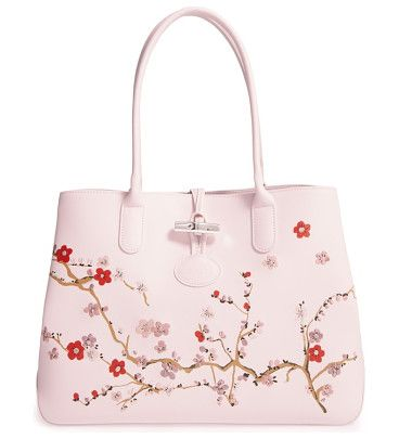 roseau sakura embroidered leather shoulder tote by Longchamp. A delicate  cherry-blossom print with embroidered accents elevates the look of a roomy 3acdcae21f55f